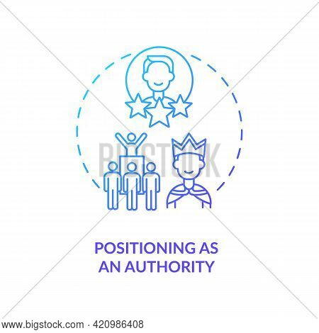 Positioning As Authority Navy Gradient Concept Icon. Business Influence. Company Ceo. Successful Car