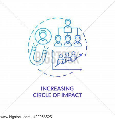 Increasing Circle Of Impact Navy Gradient Concept Icon. Social Media Marketing. Leadership And Perso