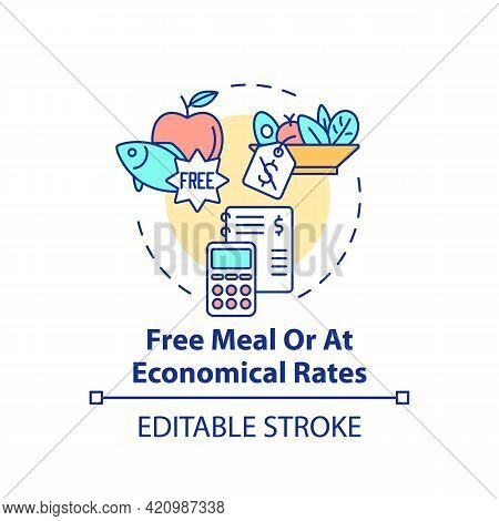 Free Meal Or At Economical Rates Concept Icon. Improving Health By Eating Natural Foods. School Lunc