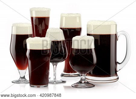Set Of Fresh Stout Beer Glasses With Bubble Froth Isolated On A White Background. 3d Rendering Conce