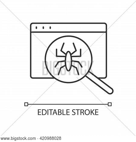Computer Viruses Linear Icon. Search For Bugs With Antivirus. Diagnostics Of Website. Pc Issue. Thin