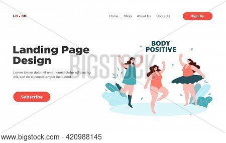 Positive Plus Size Women In Bikini And Swimsuit Dancing. Flat Vector Illustration. Happy Fat Girls R