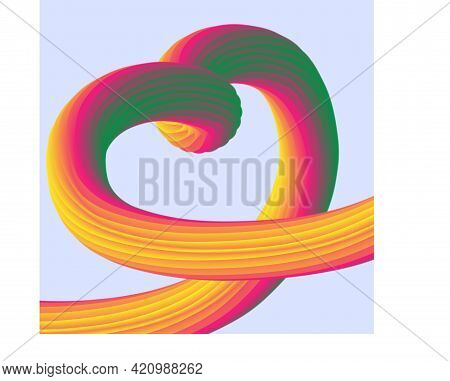 Voluminous Rainbow Ribbon Rolled In The Shape Of A Love Heart.love Symbol On Light Blue Background