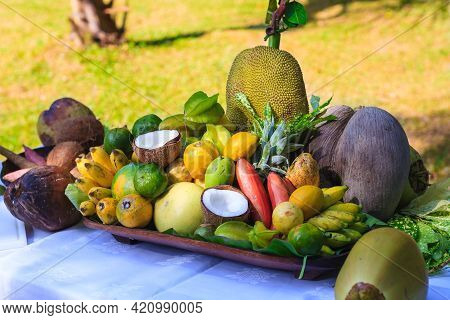Composition Of Exotic Fruit On A Plate In Seychelles With Coco De Mer (lodoicea Maldivica), Coconut,