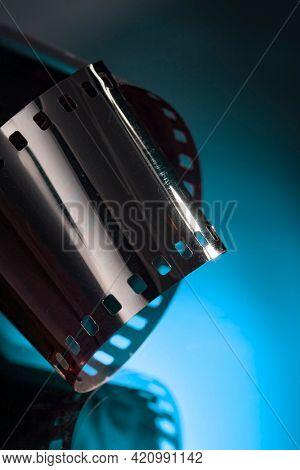 Film reel stripe cinema on blue background