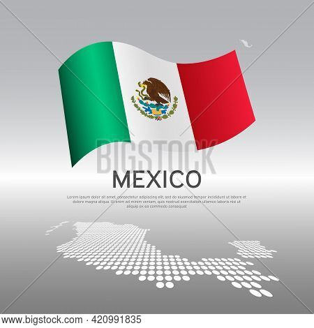 Mexico Flag, Mosaic Map On Light Background. Vector Banner Design, Mexico National Poster. Cover For