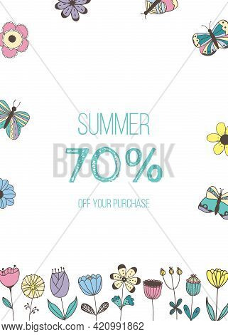 Vector Banner With Isolated Hand Drawn Flowers, Butterflies And Place For Text On White Background.