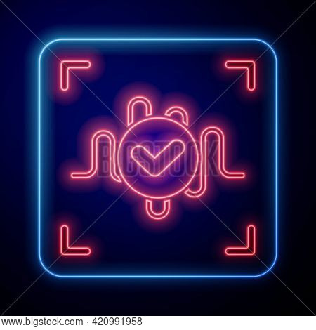 Glowing Neon Voice Recognition Icon Isolated On Blue Background. Voice Biometric Access Authenticati