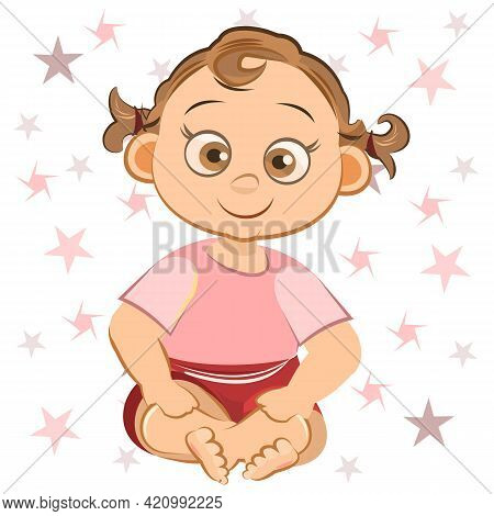 Little Child. Girl. Sits Playing Indulges. Isolated Object On A White Background. Cheerful Kind Funn