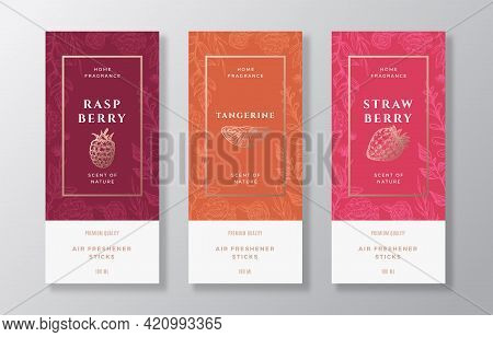 Home Fragrance Vector Label Templates Set. Hand Drawn Sketch Raspberry, Strawberry, Tangerine And Fl