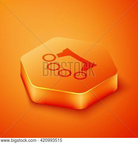 Isometric Brass Knuckles Icon Isolated On Orange Background. Orange Hexagon Button. Vector