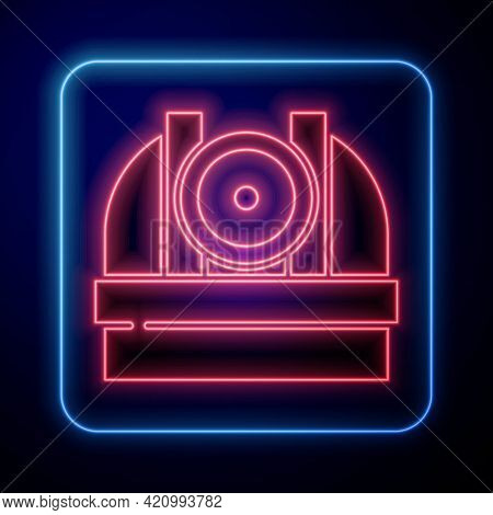 Glowing Neon Astronomical Observatory Icon Isolated On Blue Background. Observatory With A Telescope