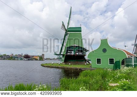 View Of A Historic Windmill At Zaanse Schaans In North Holland