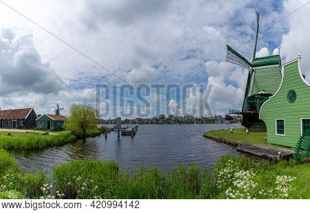 View Of The Historic Village And Windmills At Zanse Schaans In North Holland Province