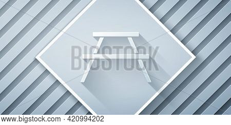 Paper Cut Picnic Table With Benches On Either Side Of The Table Icon Isolated On Grey Background. Pa