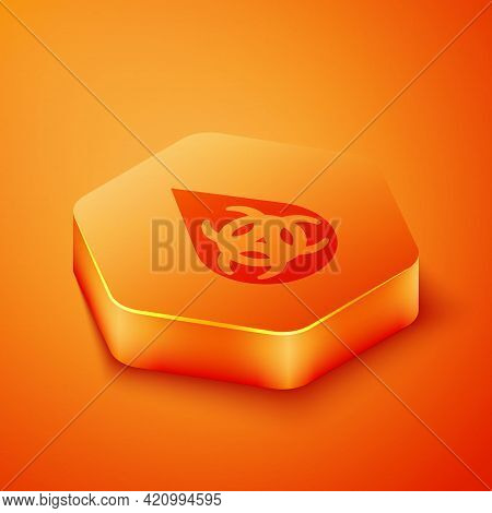 Isometric Gmo Icon Isolated On Orange Background. Genetically Modified Organism Acronym. Dna Food Mo