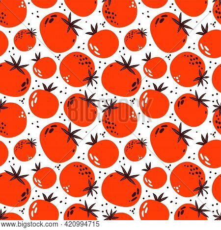 Seamless Pattern Of Red And Pink Tomatoes. Ripe Vegetables On A White Background. Vegetarian Healthy