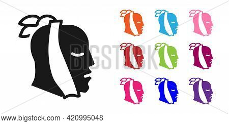 Black Toothache Icon Isolated On White Background. Set Icons Colorful. Vector