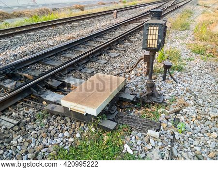 The Railroad Switch System For Controls The Direction Of The Railroad Near The Station, The Control