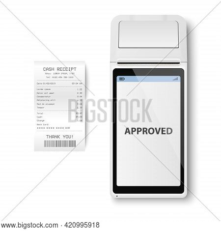 Vector Realistic White 3d Payment Machine. Pos Terminal, Paper Receipt Closeup Isolated. Approved Pa