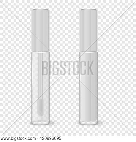 Vector 3d Realistic Closed Plastic Transparent And White Lip Gloss, Lipstick Package Set Isolated. G