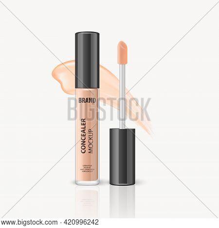 Vector 3d Realistic Lip Gloss, Foundation, Concealer, Corrector Package, Black Cap, Lip Gloss Stroke