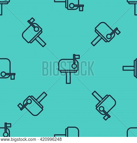 Black Line Mail Box Icon Isolated Seamless Pattern On Green Background. Mailbox Icon. Mail Postbox O