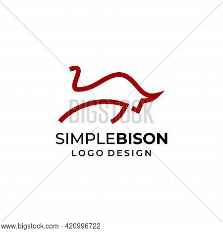 A Modern, Bold And Masculine Bison Logo Designed From Geometric Lines. Eps 10, Vector.
