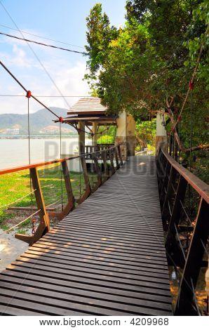 Wooden Suspension Bridge Near Beach
