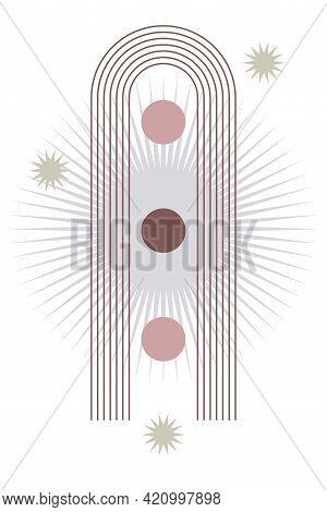 Mid Century Modern Boho Print. Creative Vector Illustration For Design T Shirt Print, Contemporary W