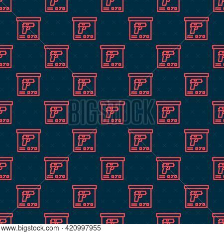 Red Line Military Ammunition Box With Some Ammo Bullets Icon Isolated Seamless Pattern On Black Back