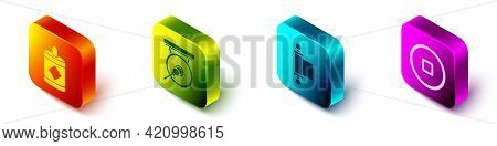 Set Isometric Firework, Gong, Decree, Paper, Parchment, Scroll And Chinese Yuan Currency Icon. Vecto