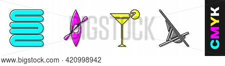 Set Towel Stack, Kayak Or Canoe And Paddle, Martini Glass And Sunbed Icon. Vector