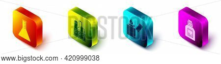 Set Isometric Oil Petrol Test Tube, Oil Industrial Factory Building, Lighter And Oil Petrol Test Tub