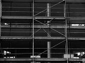 Construction site of an office building close review 3х floors poster