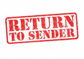 RETURN TO SENDER red rubber stamp over a white background. poster