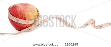 Big Ripe Red Apple With Measure Tape With Copyspace_0033