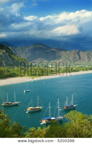 Panorama Of Sea Coast And Sailboats