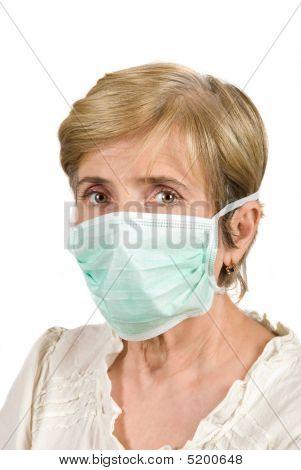 Senior Woman With Protective Mask