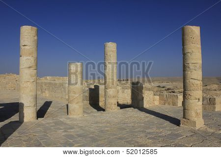 Balcon at Avdat, the ancient city of Nabateans People