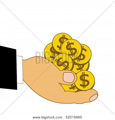 Chinks Dollars On A Hand, Illustration
