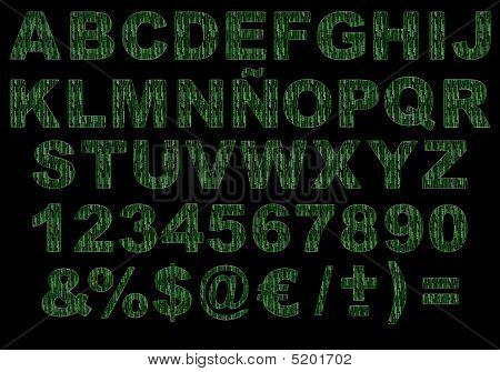 3D Matrix Green Code Alphabet Isolated
