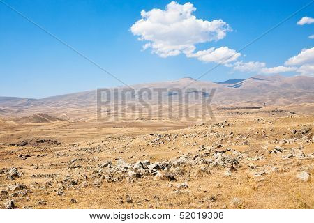 Plateau With Zorats Karer - Monument In Armenia