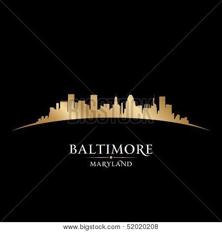 Baltimore Maryland City Skyline Silhouette Black Background