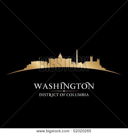 Washington Dc City Skyline Silhouette Black Background