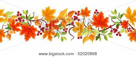 Vector horizontal seamless background with colorful autumn leaves and rowanberries on a white background. poster