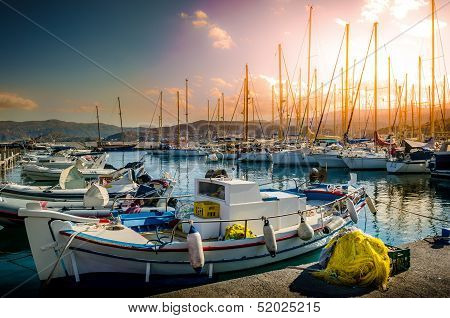 Fishing Boats Tied to Dock, port