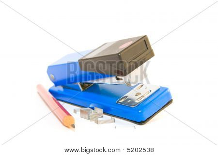 Stapler With Staples And Pencil
