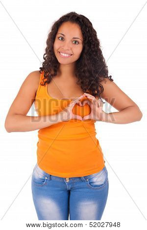 Young African American Woman Making A Heart With Hands
