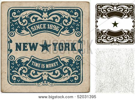 Vector. Old card with cracked texture. Baroque style with floral details